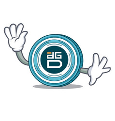 waving digixdao coin character cartoon vector image vector image