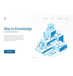 way to knowledge learning students teamwork vector image