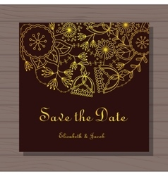 Wedding invitation on wooden background vector