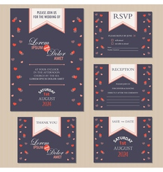 Wedding inwitation cards with hearts vector