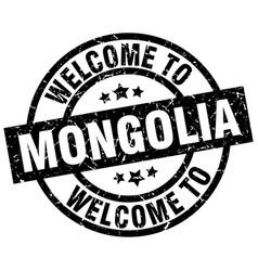 welcome to mongolia black stamp vector image vector image