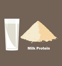Whey protein powder and glass of milk vector