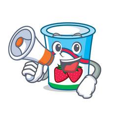 with megaphone yogurt character cartoon style vector image vector image
