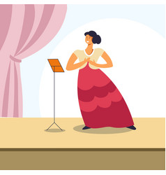 Woman singing on opera stage or classical concert vector