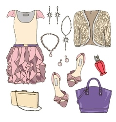 Woman wardrobe clothes accessories set vector image