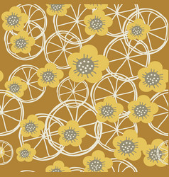 yellowgrey and white flowers and lemons on brown vector image