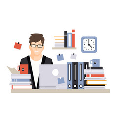 Young busy businessman character sitting at the vector