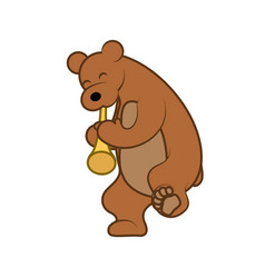 bear is playing a musical instrument pipe vector image vector image