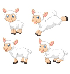 Cute cartoon sheep collection set isolated vector image vector image