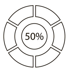 fifty percents diagram infographics outline style vector image vector image