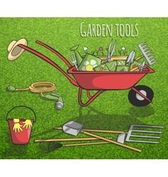 Garden tools concept poster vector