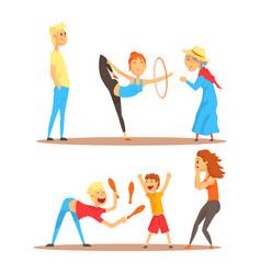 girl doing gymnastics dance with hoop juggler vector image
