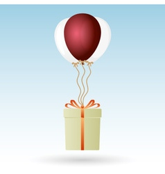 one big gift package soaring with helium balloons vector image