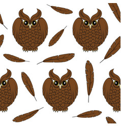 seamless pattern with owls and feathers vector image vector image