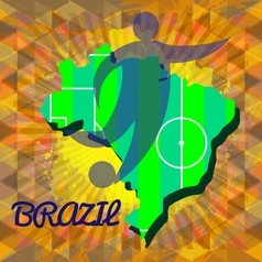 abstract brazil design with country map and soccer vector image