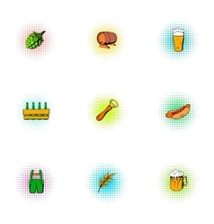 Barley drink icons set pop-art style vector image vector image