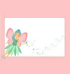 beautiful flying fairy character with pink wings vector image