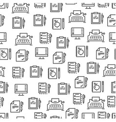 writing tools line seamless pattern - creative vector image