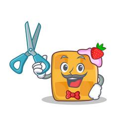 barber waffle character cartoon design vector image