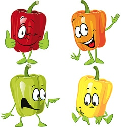 Colored paprika pepper cartoon isolated on a white vector image vector image