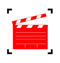film clap board cinema sign red icon vector image