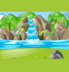 forest scene with waterfall and field vector image