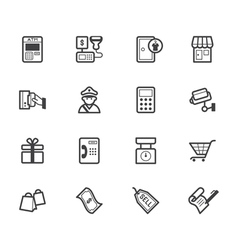 market store black icon set on white background vector image