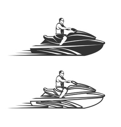 Set of man on Jet Ski isolated white background vector image vector image