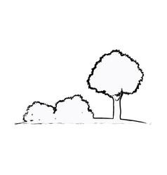 Tree bushes natural ecology sketch vector