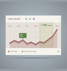 Widget with growing line chart and icons vector image