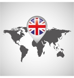 world map with pointer flag england vector image vector image