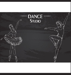 dance line chalk ballet vector image