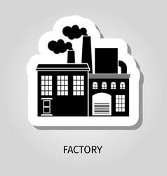 factory black building sticker vector image vector image