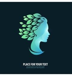 Girls head Logo icon emblem template vector image vector image