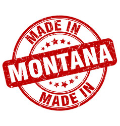 made in montana red grunge round stamp vector image vector image