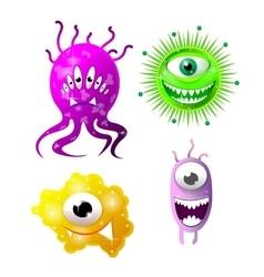 Set of cartoon bacteria fun characters cute vector image