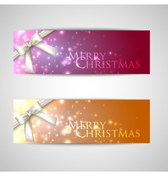set of elegant Christmas banners with white bows vector image