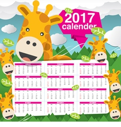 2017 Calendar Starts Sunday Giraffe In Forest vector image