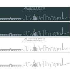 Almaty single line skyline banner vector