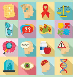 alzheimers disease icons set flat style vector image