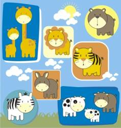 Baby animals set vector