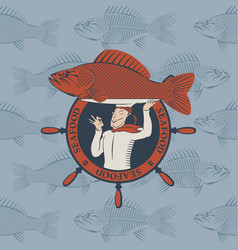 banner with cook and the fish on a tray vector image