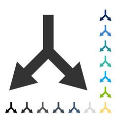 Bifurcation arrow down icon vector