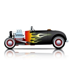 Black vintage hot rod with flames vector