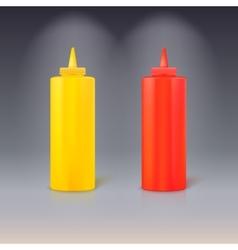 Bottles ketchup and mustard vector