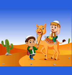 Boy ridding a camel in the wasteland vector