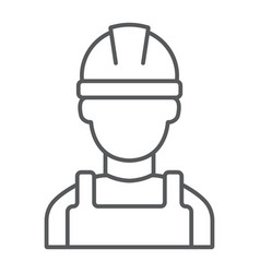 Builder thin line icon engineer and man vector