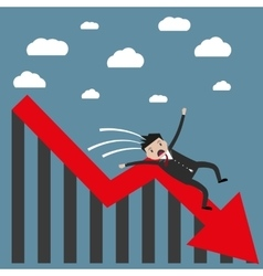 businessman falling from the chart vector image