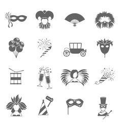 Carnival icons set black vector image
