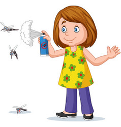 Cartoon girl spraying a mosquito vector